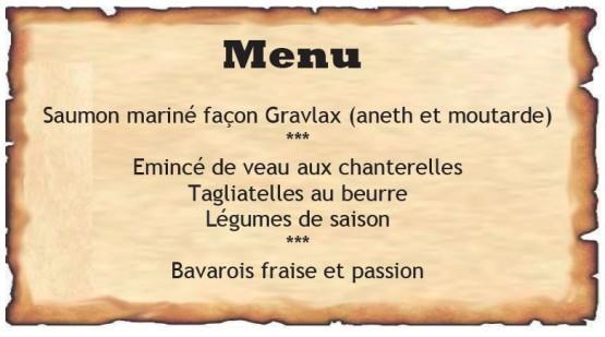 Menu Le Lavaux