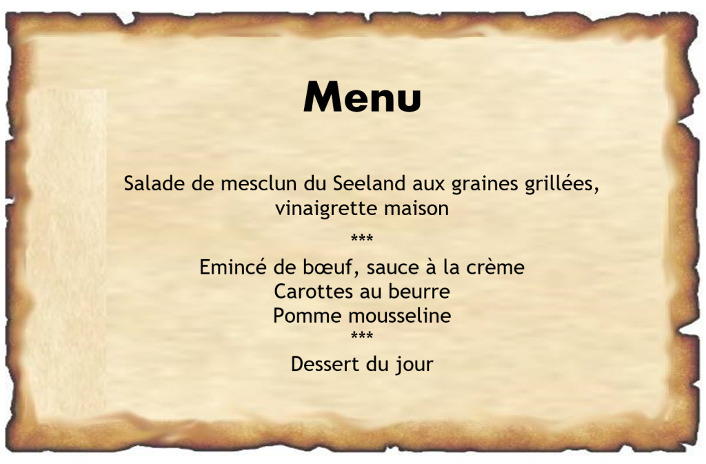 Menu Ile St-Pierre